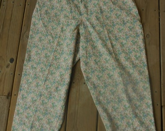 Vtg Nwt Dainty Feminine Ruffled Waist 80s Plus Size Ditsy Mom High Waist Tiny Floral Grunge Boho Hippie Indie Hipster Dress Trouser Pants
