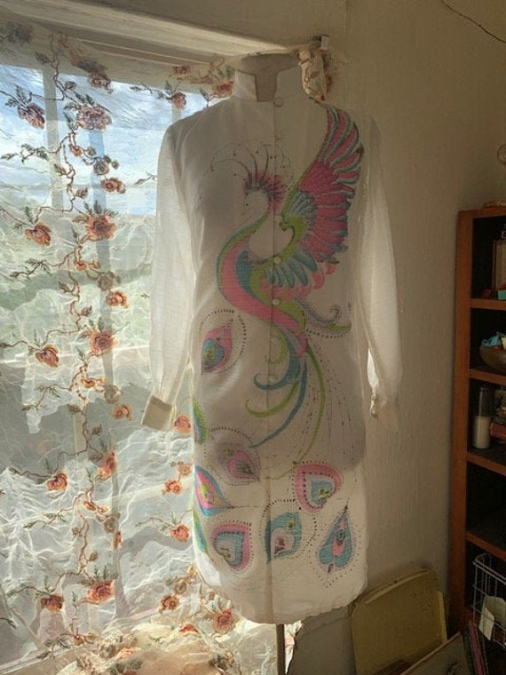 Vintage Alfred Shaheen Peackock Dress - image 3