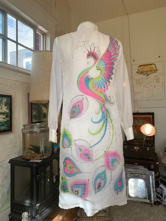 Vintage Alfred Shaheen Peackock Dress - image 6