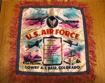 United States Air Force, Lowry AFB Souvenir Dresser or Piano Fringed Scarf or Pillow Cover
