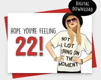 22 birthday card etsy
