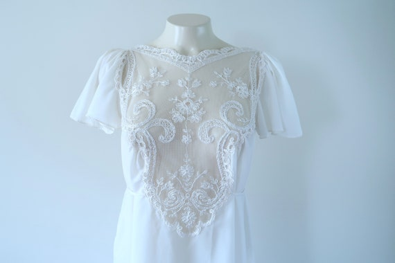 Vintage 70s/80s Lace Bodice Angel Sleeves NIght Go