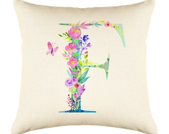 Letter G Watercolor Flower Throw Pillow