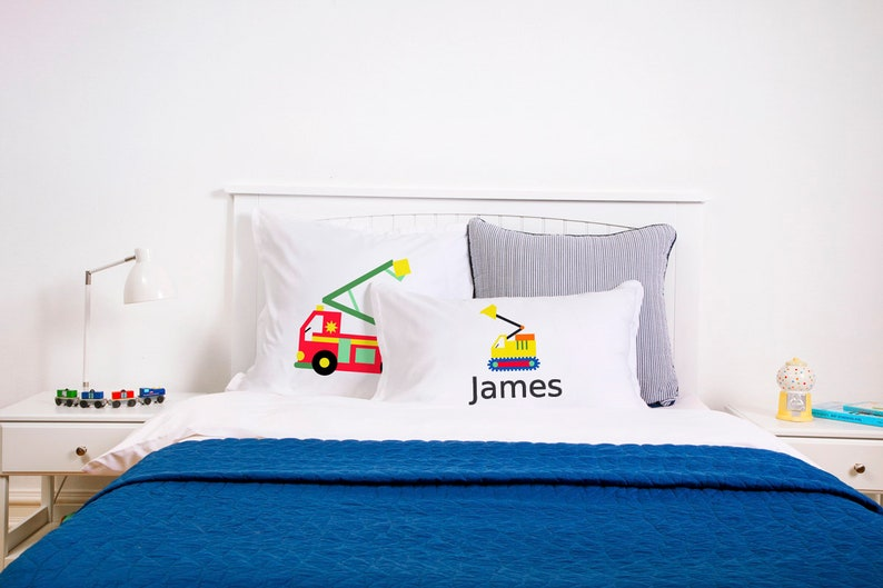 Kids Bedroom Decor Birthday Gift And Baby Shower 20x30 26x26 Di Lewis Studios Home Decor Personalized Kids Pillowcase With Fire Truck Art Pillowcases Home Living Vadel Com