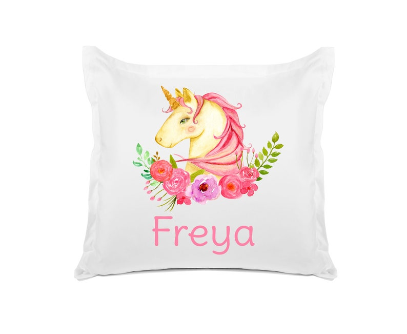 Kids Bedroom Decor Personalized Kids Pillowcase Pink Unicorn Birthday Gift and Baby Shower 20x30 26x26 Di Lewis Studios Home Decor