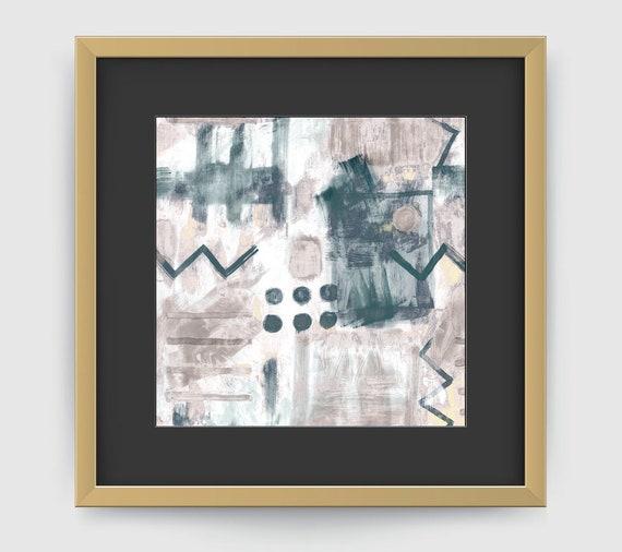 Grand mur carré estampes, grand abstrait Estampe Wall Art abstrait ...