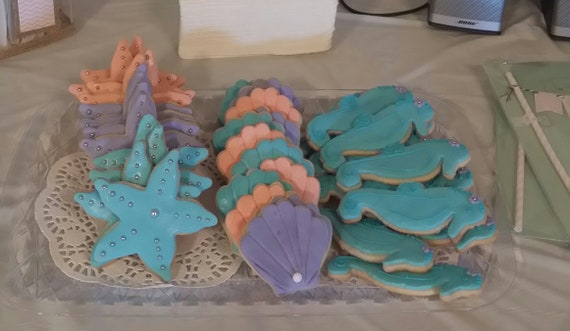 Seahorse Themed Decorated Cookies 1 Dz