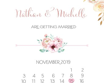 Save the date, Calendar save the date, custom, save the date cards,