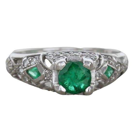 Vintage Emerald and Diamond Ring - image 1