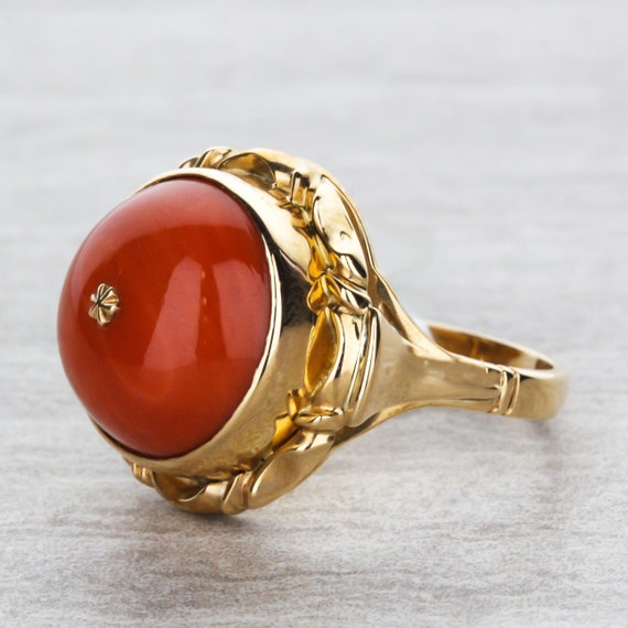Victorian Style Coral Domed Cab Ring