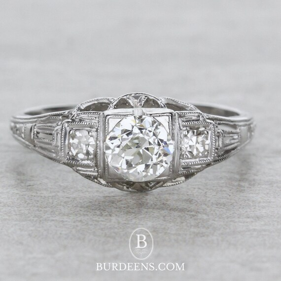Art Deco Style Engagement Rings Etsy