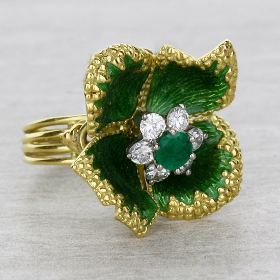 Green Emerald Flower Ring with Diamonds