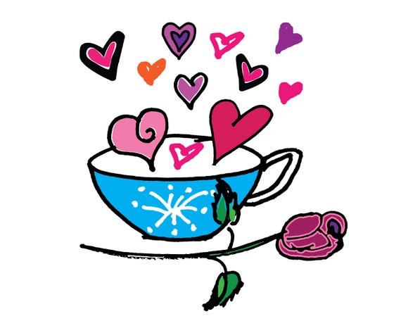 Valentine's Day Clip Art Coffee Cup, Roses & hearts