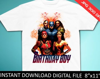 Justice League Birthday Shirt Iron On Transfer Boy Instant Download Digital Item