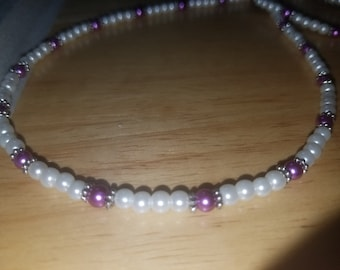 Purple and Pearls Handmade Beaded Necklace