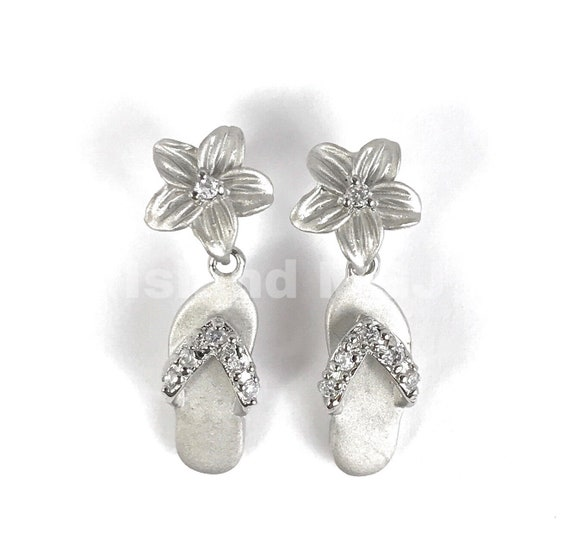 Hawaiian 925 Sterling Silver Plumeria Gold Flowers French Clip Stud CZ Earrings