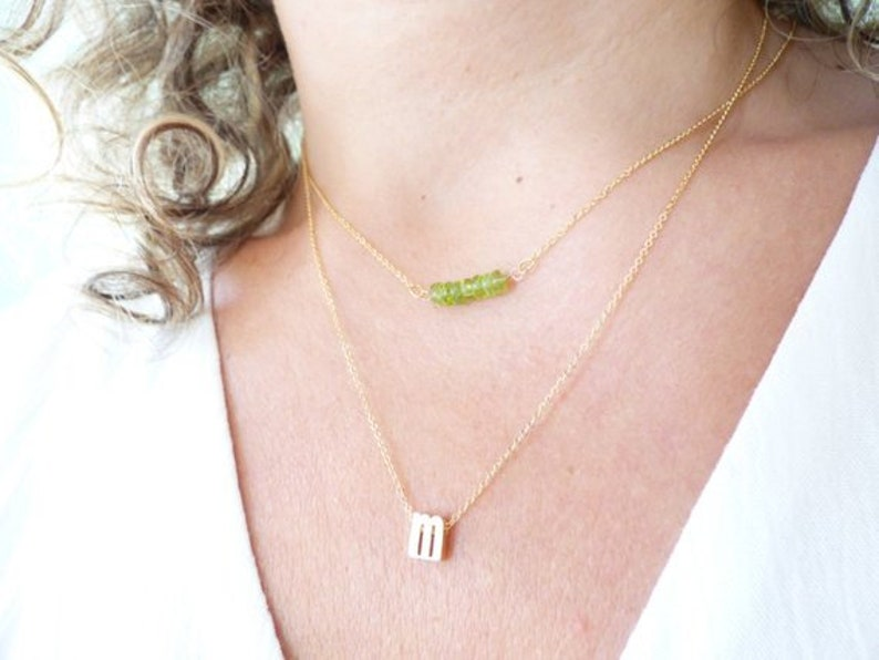 Delicate Gold Double Necklace,Simple Layered Necklace Set Natural Green Peridot Beaded Bar And Lowercase Initial Dainty Layering Necklace