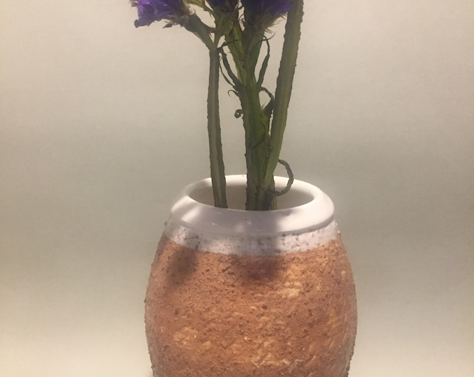 One Off pots : Textured wood fired Vase