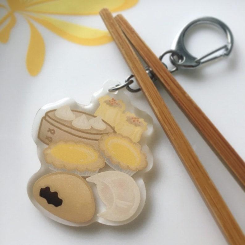 Dim Sum Acrylic Keychain, Acrylic Charm, Double Sided Acrylic Charm,  Chinese Food Keychain, Foodie Keychain