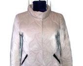 Vintage italian cream jacket with leather Sisley Retro cropped jacket