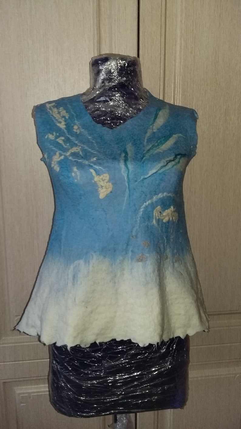 Felted blue top White felt top Summer blouse Handmade wool top Cotton top Viscose top Women clothes