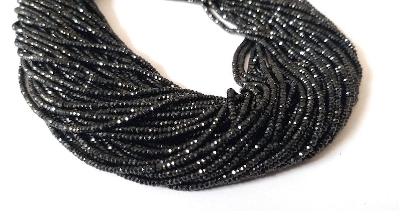 10 Strands Finest Quality Black Spinel Blue Coated Faceted Rondelles Black Spinel bead 2mm 13 Inches SR087