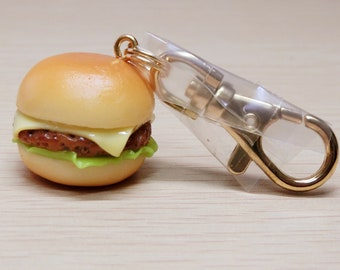 Kawaii, Japanease Craftsman fake food, Cheeseburger, key ring, food sample