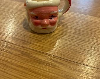 Vintage Miniature Ceramic Santa Mug Shabby Chic Christmas