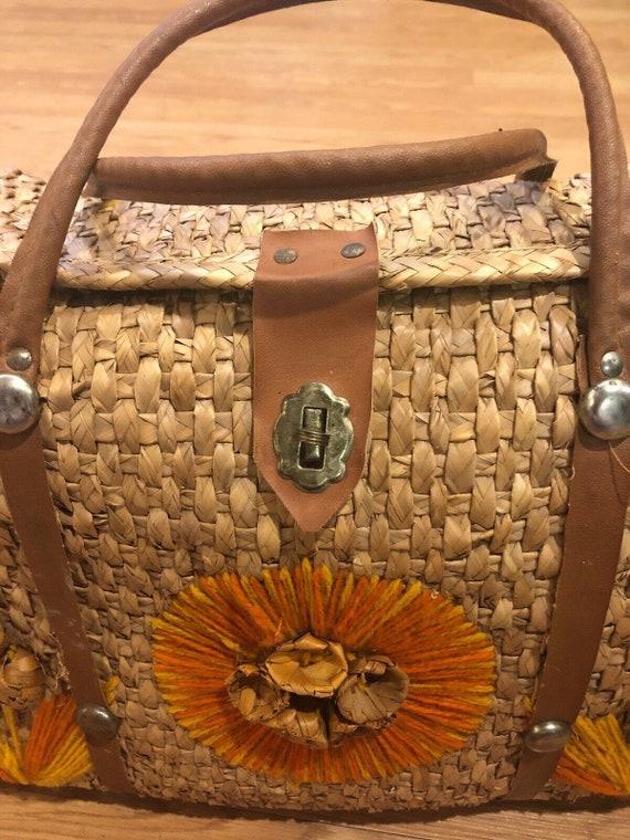 Vintage wicker bucket handbag 1960s 1970s orange f