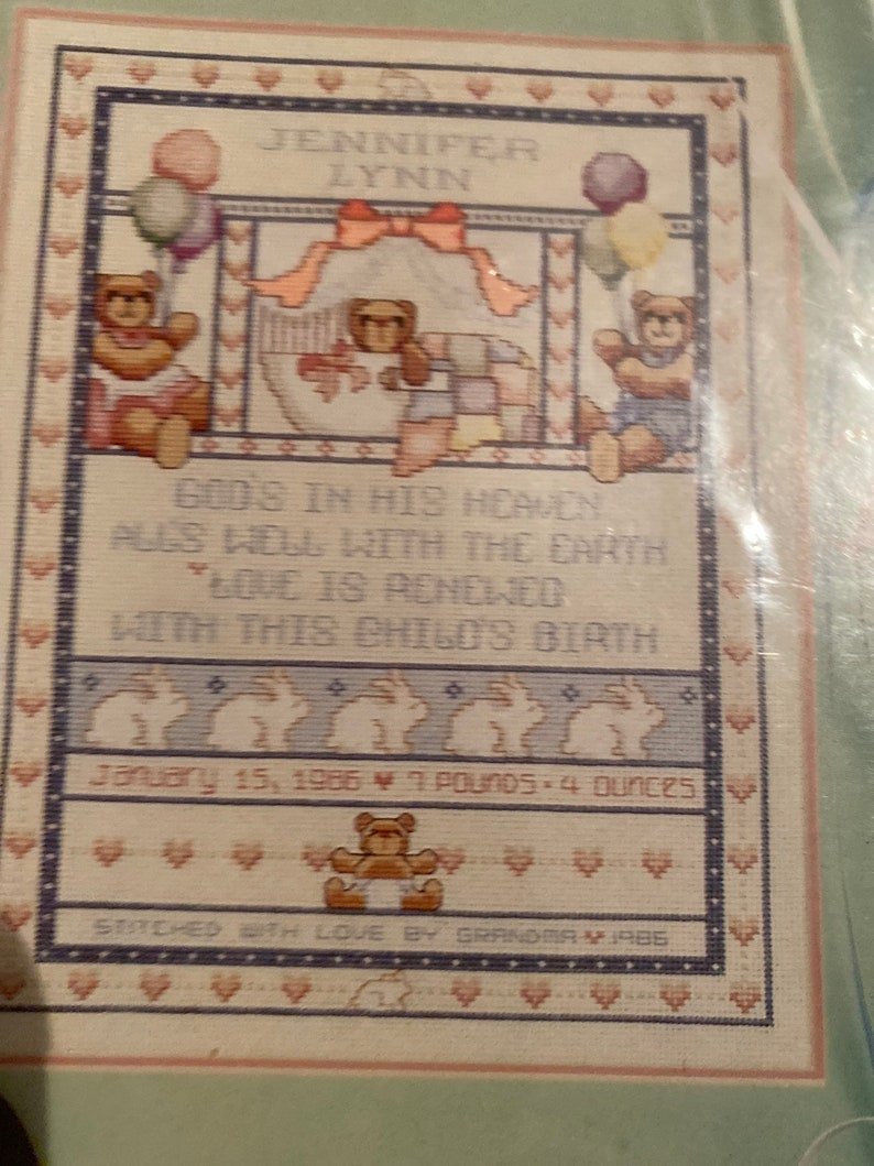 VTG NIP Dimensions Baby Hugs Bear \u2018n Bunnies Birth Record 11\u201dx14\u201d Cross Stitch