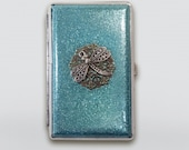 Turquoise Glitter Cigarette Case, Dragonfly case,Cigarette Case for 100 39 s, Cigarette Case Holder,Metal Cigarette case,Business Card case