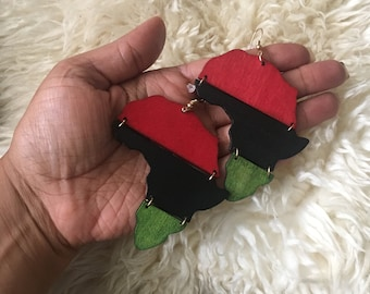 Handmade, hand painted map of Africa earrings