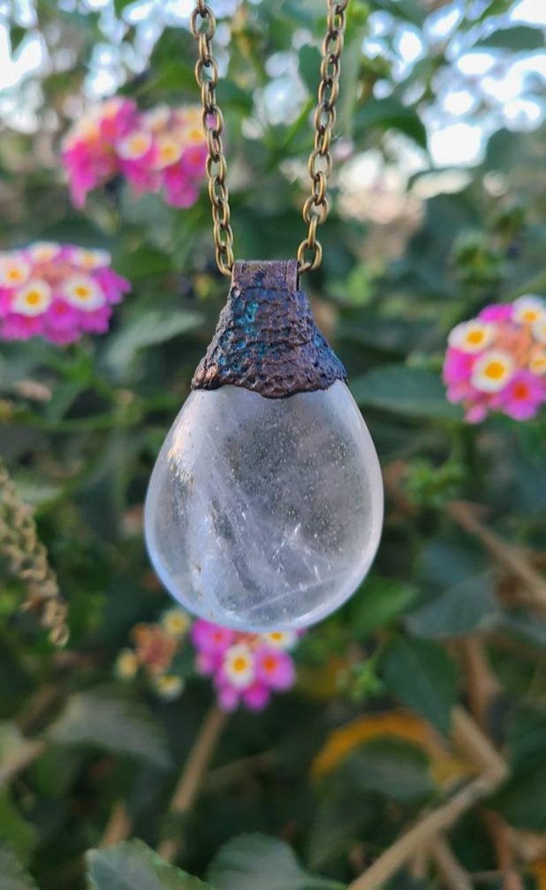 Quartz Patina Necklace Witchy Necklace Clear Quartz Crystal Necklace Quartz Pendant Clear Quartz Brass Necklace Unisex Necklace