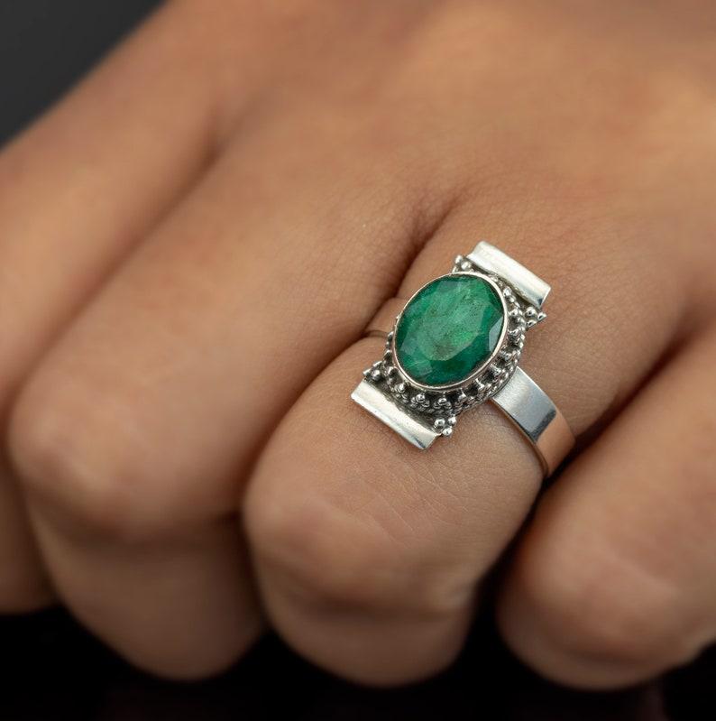 Handmade Ladies 925 Sterling Silver Emerald Ring Gemstone Jewellery Gift Jewelry