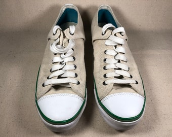 buy popular e3e38 9ee55 Bob Cousy PF Flyer Canvas Basketball Tennis Shoes Retro Fashion Sneakers  Green on Beige Men s Size 10.5