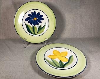 Keramos Italian Salad Plate Set of 4 Vintage Handmade in Italy Lunch Plates Yellow Trim Hostess Gift Housewarming Gift Wedding Gift