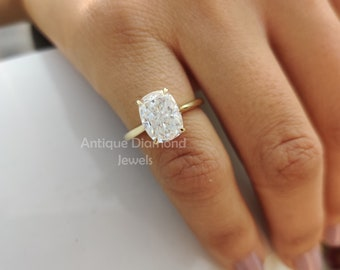 7 mm and 8 mm Round Cut Near White Moissanite six claw Tapered Shank Solitaire Engagement Ring Floral Two Tone In White /& Yellow Gold