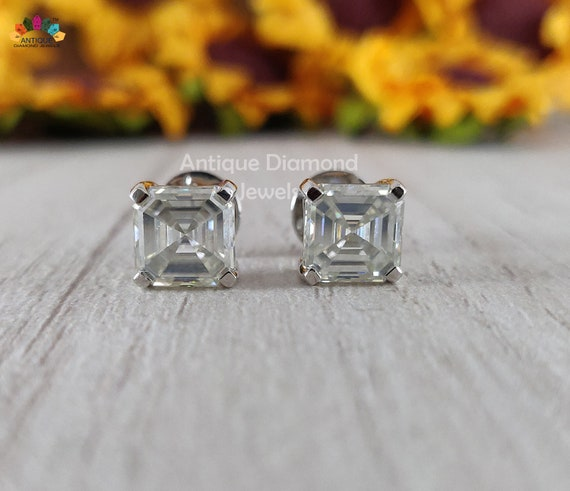 2.50 Ct Asscher Cut Earrings Studs Real Solid 14K White Gold Martini Screw Back