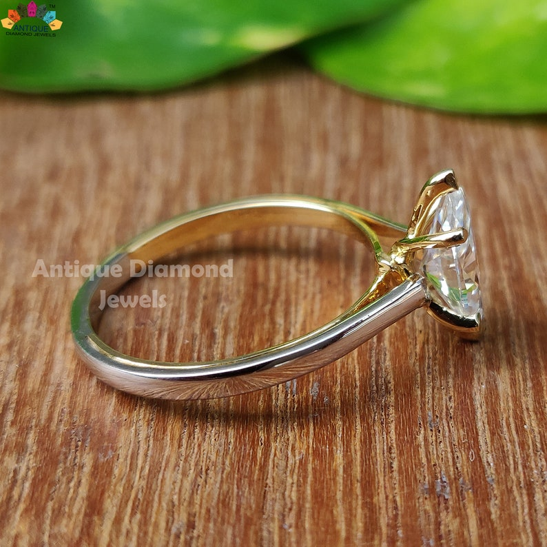 Wedding Ring Anniversary 14K Solid Gold Ring 1.02 CT Marquise Colorless Moissanite Solitaire Ring Two-Tone Ring Engagement Ring