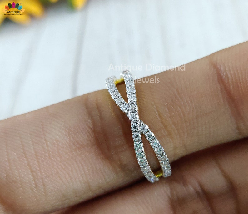 giftforher Anniversary band Moissanite band Crisscross wedding band made with 1.50mm RBC colorless moissanite in 14kt yellow gold