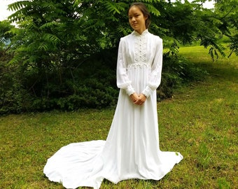 Stunning 1970s Winter White Velvet Wedding Gown Victorian Style Long Sleeves High Neck Lace Trim Gathered Sleeves Long Train