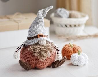Fall Gnome Crochet Pattern PDF, Harvest Pumpkin Gnome Amigurumi Instructions