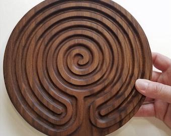 Peace Labyrinth, meditation tool, walnut
