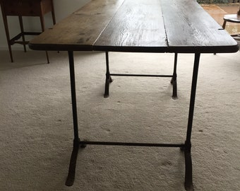 Vintage trestle pine table