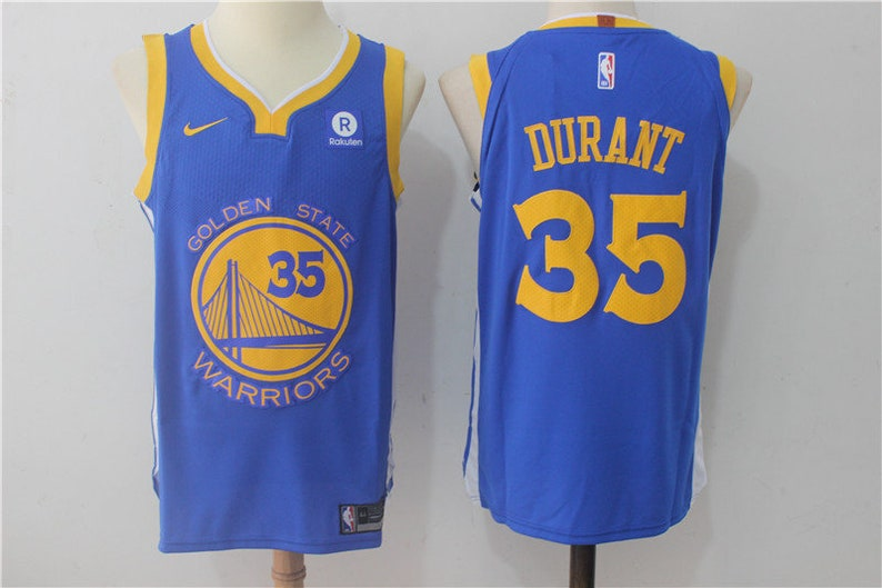 e5c8d721bd06 Kevin Durant 35 Golden State Warriors Blue and Yellow Jersey