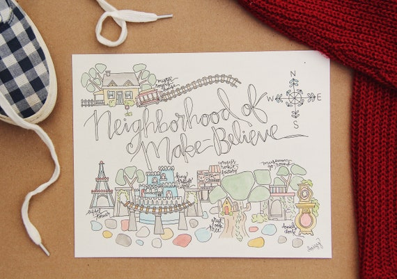 Neighborhood Of Make Believe Map Watercolor Art Print Mr Etsy