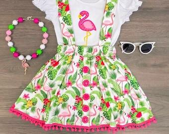 f6d6e2d25d Flamingo Pom Pom Skirt Set