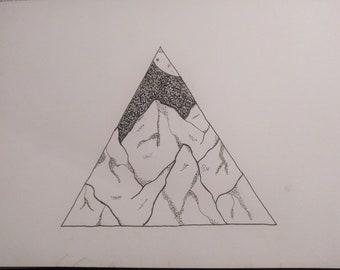 Nighttime Mountains, stippling print