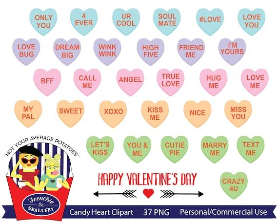 Valentine's Conversation Hearts Cliparts (Graphic) by Happy Printables Club  · Creative Fabrica