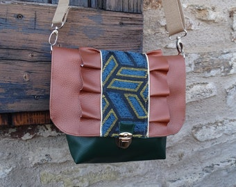 1f4524fe2a Mini sac besace volant à bandoulière pour femme en simili vert et bronze